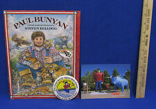 Paul Bunyan Hardcover Book Steven Kellogg 1988 Water Carnival Button Postcard