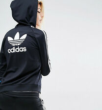 Med.  adidas Originals Women's SLIM HOODIE TRACK JACKET  UK12 - US 8 BLACK  1AVL