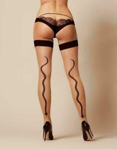 Serpens Hold Ups - Agent Provocateur champagne black hosiery BNWT