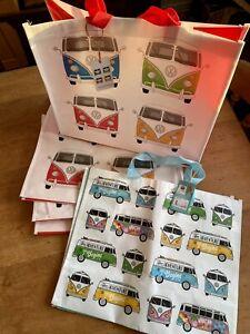 Joblot. 5 X VW Campervan Shopping Bags, Genuine Licensed Volkswagen