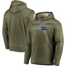 New England Patriots Olive Salute to Service Sideline Therma Hoodie 2019 Pullove