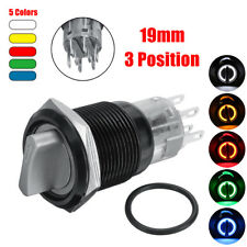 12V 19MM LED WATERPROOF STAINLESS STEEL ON/OFF/ON SELF-LOCKING LATCHING SWITCH