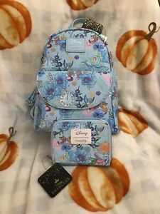 Loungefly Disney Cinderella Blue Floral Backpack & Matching Wallet  NWT