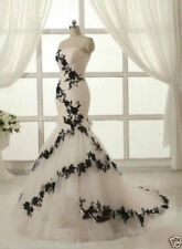 black White Wedding Evening Ball Gown Party Prom Bridesmaid Dress Custom
