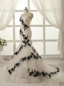 black White Wedding Evening Ball Gown Party Prom Bridesmaid Dress Custom