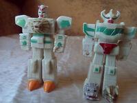 """ULTRA RARE UNIQUE OLD VINTAGE LOT SET TWO ROBOTS LION TRANSFORMERS 1980""""S"""
