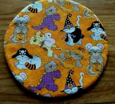 """Halloween Cats Kittens Costumes Witches Pirates Fabric Trivet 10.5"""""""