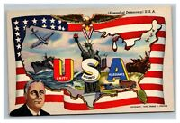 Vintage 1942 WW2 Propaganda Postcard Arsenal of Democracy Flag Roosevelt