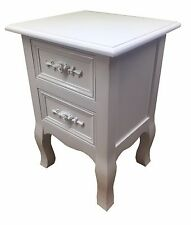 Small 2 Drawer BEDSIDE TABLE Cabinet WHITE Shabby Chic Rose Handle Bedroom New
