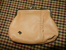 Vintage Roger Gimbel Coin purse, tan leather, ruffle, Excellent!