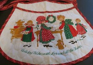 Vtg Christmas Apron prequilted fabric Holly Hobbie Baking Scene