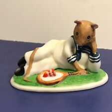 FRANKLIN MINT WOODHOUSE MOUSE FIGURINE PORCELAIN MICE 1985 HAROLD TENNIS CAKE