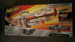 SEALED! UNUSED 2011 NERF FULL AUTO VULCAN EBF 25 CLEAR GUN TOY WITH BELT TRIPOD