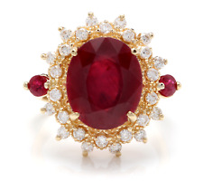 6.70 Carats Red Ruby and Diamond 14K Solid Yellow Gold Ring