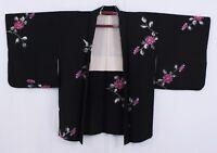 羽織 Haori japonés - Chaqueta japonesa de seda negro - hecho en Japón 1489 M/L