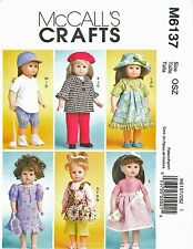 McCall's 6137 18 inch Girl Doll Clothes Pattern American Baseball Uniform Beret