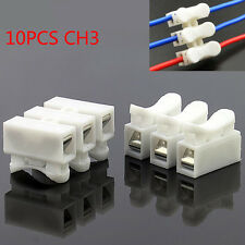 10X Spring Connector wire with no welding screw cable clamp Terminal Block 3 Way
