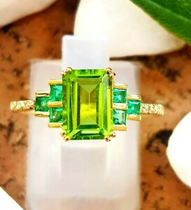 2ct Genuine Natural Peridot Emerald Diamond Solid 9K Yellow Gold Cocktail Ring