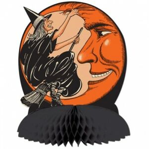"""Vintage Halloween Witch & Moon Centerpiece 10"""" Paper Halloween Party Decorations"""