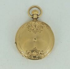 Estate Elgin Gail Borden Pocket Watch Solid 18k gold Engraved Hunters Case