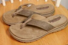 NEW Mens SKECHERS Evented Rosen Relaxed Fit Flip Flop Sandals Khaki Tan 65090