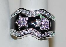 925 STERLING SILVER BLACK ENAMEL & CZ STAR & FISH BAND RING 6.5 GR SIZE 7 RT6