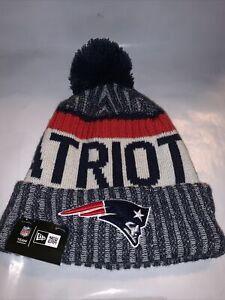 New England Patriots Knit Hat New Era Cuff Pom Script Beanie Stocking Cap NFL