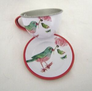 Children's Aluminum Play Cup and Saucer with Bird