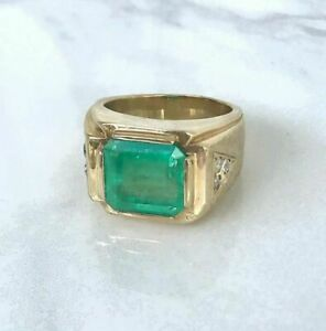 Natural Emerald Gemstone Real Diamond 22K Solid Yellow Gold Men's Ring #2147