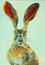 Mad March hare - A4 canvas collage acrylic  brown rabbit