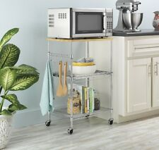 3 Tier Wire Rolling Kitchen Cart Food Service Microwave Stand Table Bamboo Top