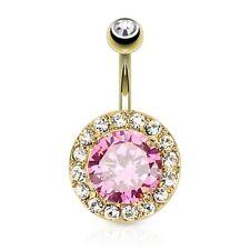 Piercing de Ombligo Enchufe Dorado XXL Rosa Cristal & Pequeño Transparente