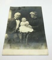 Antique Real Photo Postcard Baby Girl With Aged Caretakers Beautiful UnPosted