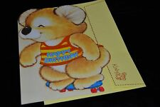 GIANT SIZE Vtg 80's KIRBY KOALA Gibson Greeting Card H.B. Flocked 12 3/8 x 8 5/8