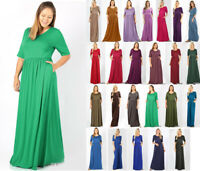 1X-3X Women's Long maxi Dress Casual Basic Soft Knit 1/2 Sleeve Pockets Solid