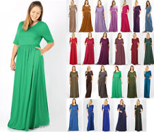 1X-3X Women's Long maxi Dress Casual Basic Soft Knit 1/2 Sleeve Pockets Solid