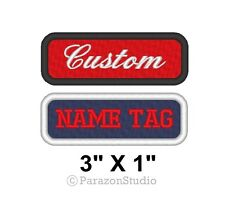 "Custom Embroidered Name Tag Title Patch Motorcycle Biker MC Badge 3"" X 1"" (A)"