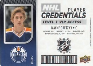 WAYNE GRETZKY NO:NHL-WG PLAYER CREDENTIALS LEVEL 1 VIP ACCESS in UD MVP 2017-18