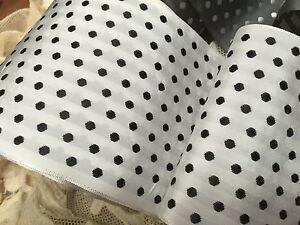 "Vintage Rayon 3.75"" Grosgrain 1940s Polka Dot Ribbon 1yd Made in Switzerland"