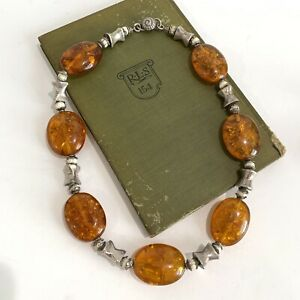 Vintage Chunky Amber Sterling Silver Statement Necklace Shell Clasp