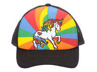 Unicorn Mesh Trucker Hat, Adult - Black w/ Rainbow