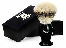 PURE SILVER TIP BADGER HAIR SHAVING BRUSH IN BLACK HANDLE. PERFECT FOR MEN'S
