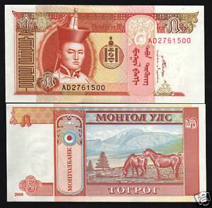 MONGOLIA 5 TUGRIK P-53 2008 x 100 Pcs Lot Full BUNDLE HORSE UNC PACK MONGOLIAN