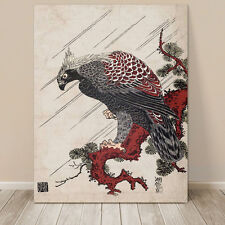 "Beautiful Vintage Japanese Bird Art ~ CANVAS PRINT 18x12"" Eagle on Branch"