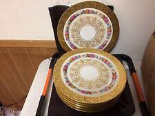 """T&V Limoges France Encrusted Gold H/P Floral's Set of 8 11"""" Cabinet Plates"""