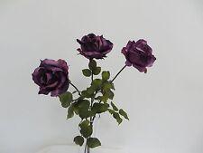 Home floral  decor long silk faux  3 flowers  purple rose bouquet