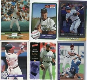 VINNY CASTILLA Lot of 21 Different MLB Baseball Cards Marlins Padres Braves Rays