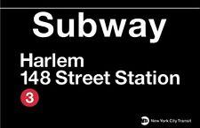 Harlem - 148 Street New York City Subway Station Sign Metal
