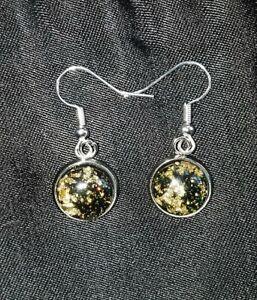Black & Gold Leaf Cabochon Drop Dangle Pierced Earrings, Steampunk, Celestial