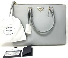96de9903189b PRADA Saffiano Lux Double Zip Large Tote Women's Handbag in Granito Grey New !